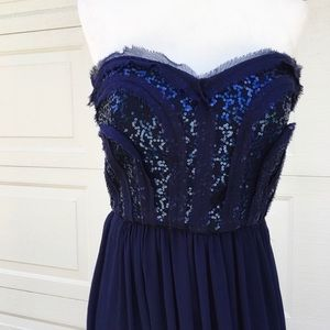 BCBG Navy Strapless Embelished Gown